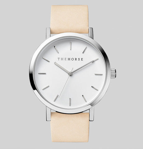 White Face / Polished Steel / Vegetable Tan Strap