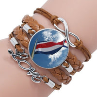 Haiti Flag Black/Brown Leather Bracelet