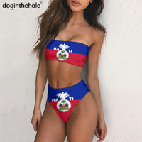 Haiti Flags Design Women Sexy Bikini