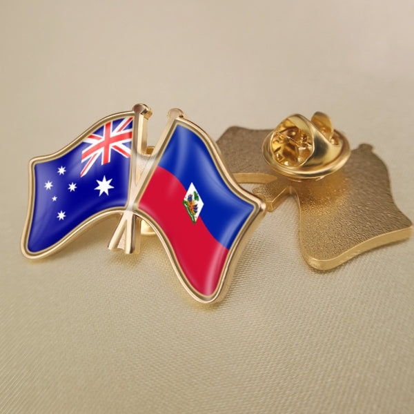 Australia and Haiti Double Flags Lapel Pins/Brooch