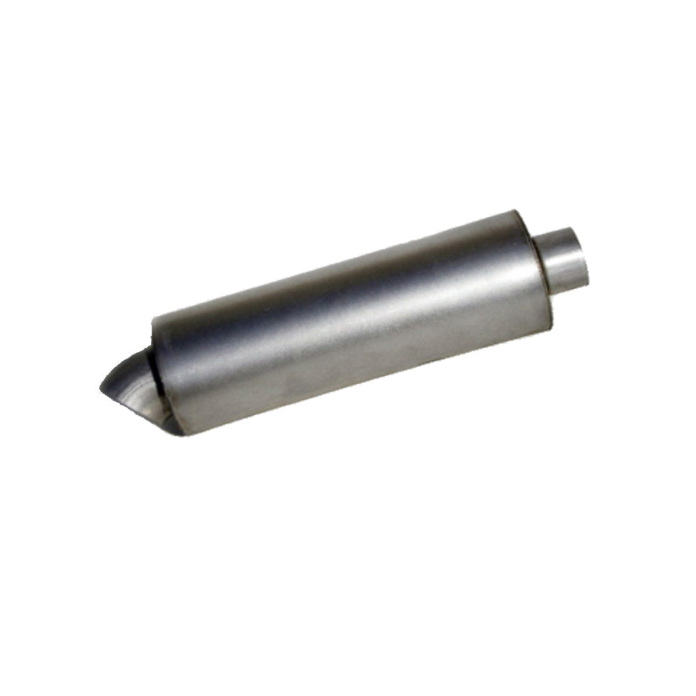 "Round Race Muffler w/ Turn Down - Dwarf, Modlite, Lighting Sprints 2"" x 2"" x 12"" - Extreme Mufflers"
