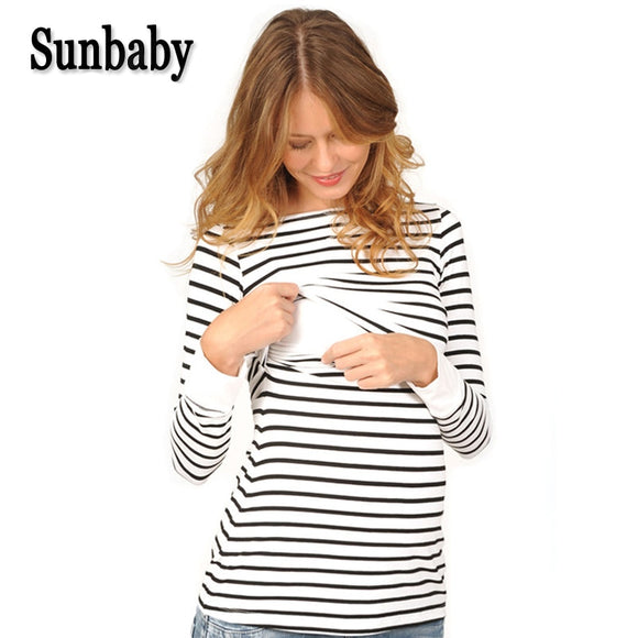 Maternity clothing Spring Fashion Casual Striped O neck Collar long sleeve nursing top breastfeeding clothing for pregnant women