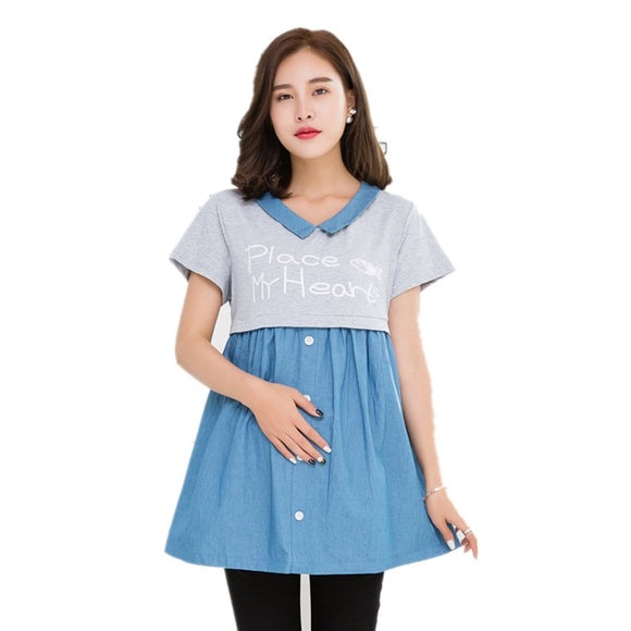 Maternity Blouses Tops  Pregnancy Shirt  Pregnant Dress Summer  Pregnant clothing  Breastfeeding Chiffon shirts Feeding clothes