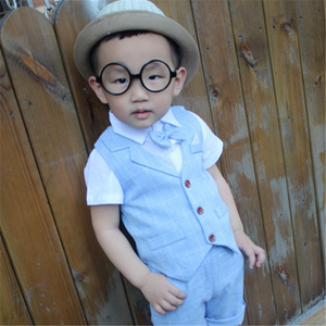 Kids Formal Suits for Baby Boys Suits Blazers Summer Autumn Single Breasted Short Wedding Wear 3pcs Sets Child Costume Clothing