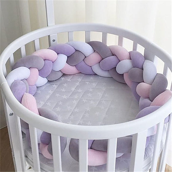 1m-3m Four-ply Woven Bed Girth Crotch Cot Infant Room Decor Crib Protector Pacification Toy Weaving Knot for Kids stuff Bedding