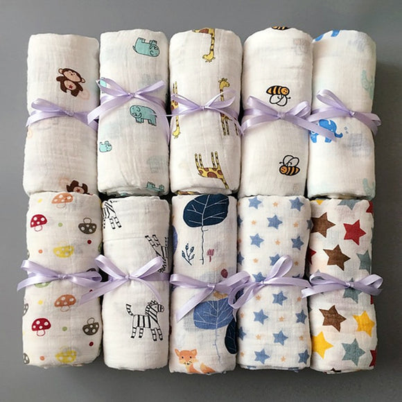 1Pc Muslin 100% Cotton Baby Swaddles Soft Newborn Blankets Bath Gauze Infant Wrap sleepsack Stroller cover Play Mat
