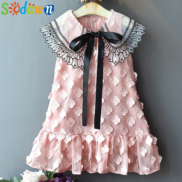 Sodawn 2019 Spring Summer Children's Clothing Baby Girl Princess Dress Lace Short Sleeve Flower Embroidery Design Girls Dress