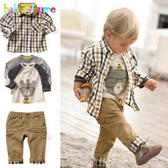 3Piece/0-5Years/Spring Autumn Baby Boys Suit Casual Plaid Shirt+T-shirt+Pants Boutique Kids Clothes Children Clothing Set BC1034