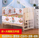 8 in1 wood baby bed with shelf, extended baby crib, 3 grade height adjust baby cot, can combine with adult bed pine baby bed