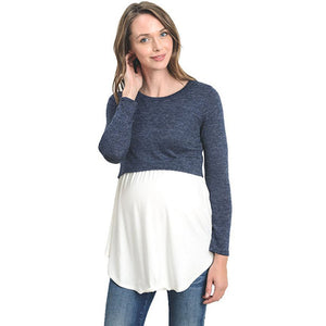 Long Sleeve Breastfeeding Pregnancy Tops Nursing Maternity Clothes For Pregnant Women Feeding Shirts Maternity Tees Clothing