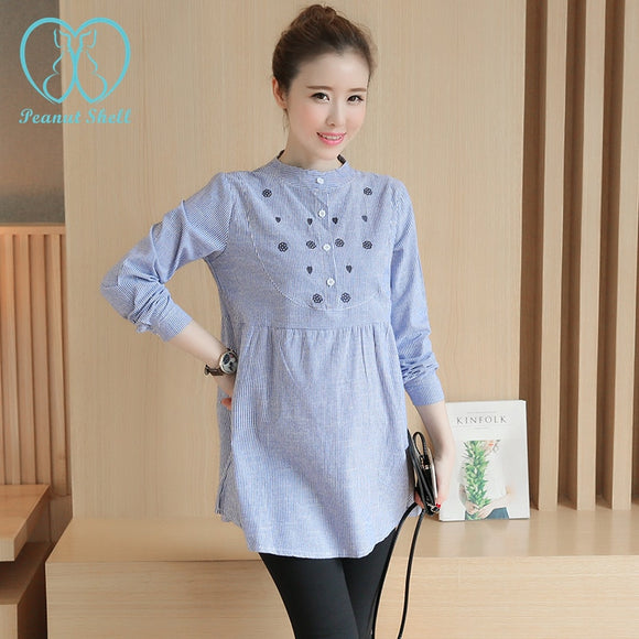 6530# Waist Pleated Embroidery Cotton Maternity Shirt Spring & Autumn Blouse Tops Clothes for Pregnant Women Pregnancy Clothing