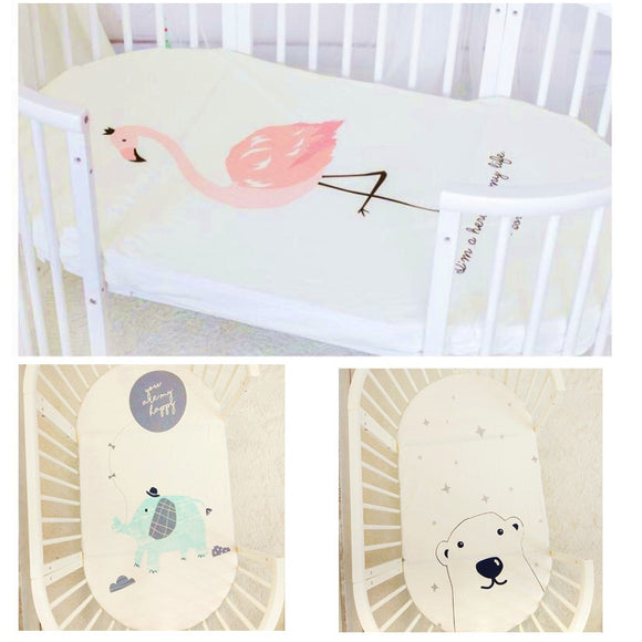 Baby bedding fitted sheet cute cartoon Mattress Cover Pure Cotton Crib Bed Sheet
