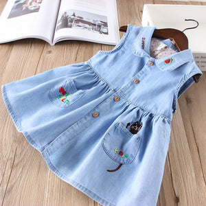 Hurave New baby girls clothes Turn-down collar denim sleeveless button Kids Clothes cartoon embroidery causal pocket dresses