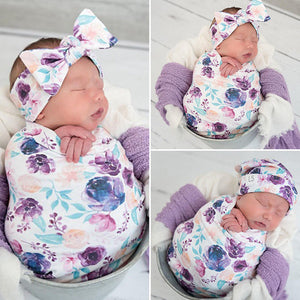 Cotton Swaddle Muslin Blanket Newborn Baby Floral Wrap Swaddling Blanket 3Pcs