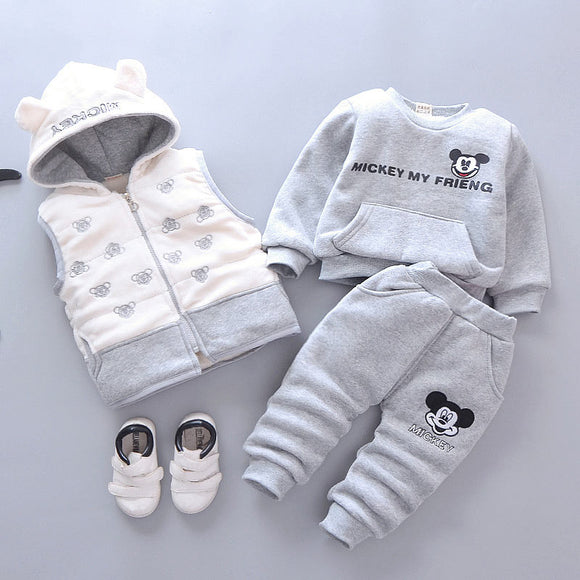 Baby Boys Girls Christmas Cartoon Autumn Winter Warm Vest Coat+Sweatshirt+Pants 3Pcs Infant Kids Children Sports Suit Clothes
