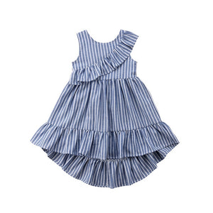 UK Toddler Kid Baby Girl Summer Striped Princess Party Pageant Ruffle Dress
