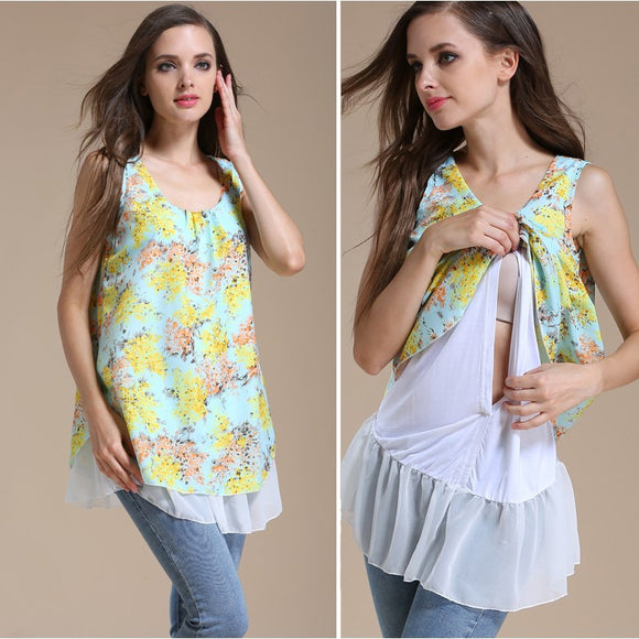Summer Chiffon Maternity Breastfeeding Clothes Women Pregnant Shirt Nursing Tees Lactation Clothing Feeding Blouse