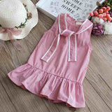 WEIXINBUY Summer princess dress Cotton baby girl embroidered peach vest dress 1-4Y High Quality baby girl infant dress