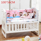 5Pcs/Set Cotton Print Breathable Baby Bedding Bumper Collision Protector Baby Bumper Crib Set Safety Rails Bedding Supplies