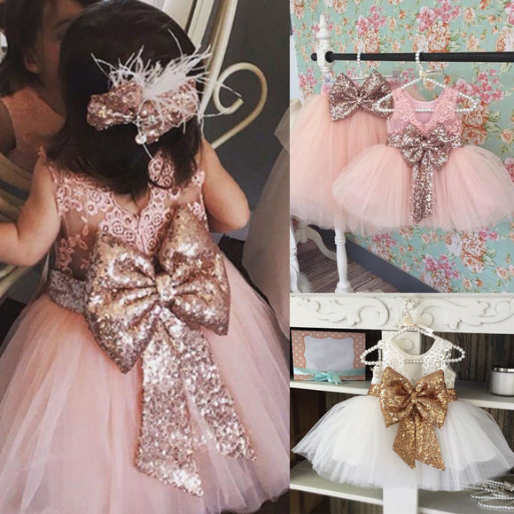 0-10T New Fashion Sequin Flower Girl Dress Party Birthday wedding princess Toddler baby Girls Clothes Children Kids Girl Dresses