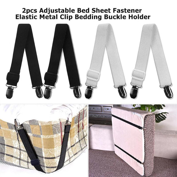 2pcs Adjustable Bed Sheet Fastener Elastic Metal Clip Bedding Buckle Holder Fixing Slip-Resistant Belt Clip Home Living BedSheet