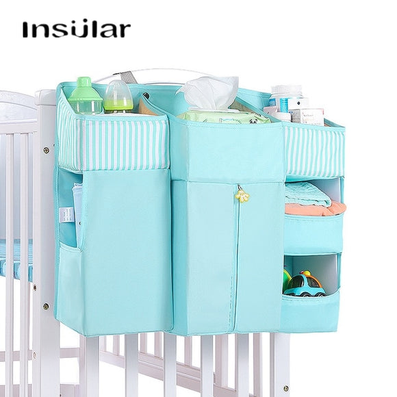 Baby Crib Bed Hanging Storage Bag Baby Bed Diaper Organizer Bedding Sets Accessories for Crib Storage and Nursery Organization