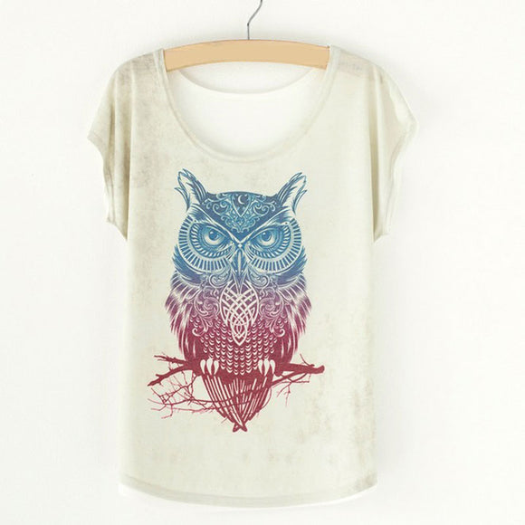 Summer Vintage Women's Shirt Blouses Animal Owl Print T-shirts for Woman Female Clothes Tops Batwing Sleeve Women's blouses 2019