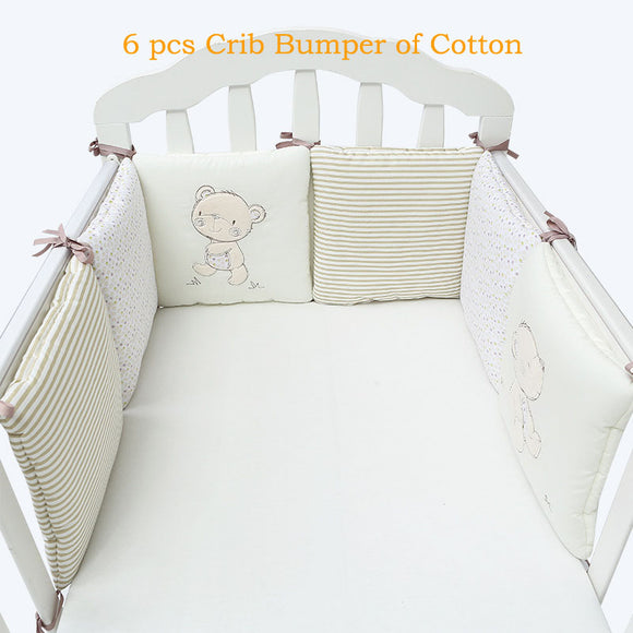 Children infant crib bumper bed protector baby kids cotton cot nursery for bear bumper boy and girl bedding 6 pc plush
