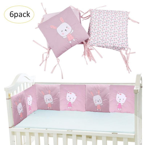 Pink Lovely Baby Girl Rabbit Padded Mesh Crib Bumper Pad Thickness Cotton Infant Room House Fence Cushion Bedding Bumper