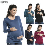 New Long Sleeve Women Pregnant Maternity Clothes Nursing Tops Breastfeeding Casual Tee Solid  T-Shirt Blouse Size 2019