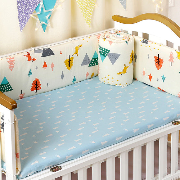 4pcs/set Crib Bed Bumpers Set For Newborns Thick Cotton Children's Bed Protector Detachable Zipper Cot Bumpers Baby Bedding Set