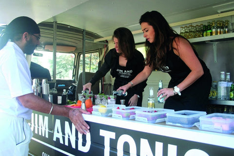 Jim and Tonic staff serving gin and tonics at corporate golf event