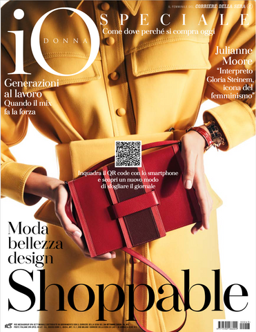 Io Donna cover of October 24 edition shoppable with Adv by Lisa TIbaldi Terra Mia luxury brand