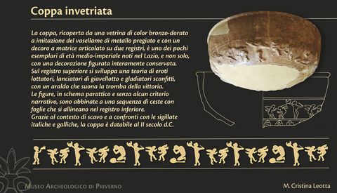 Glazed cup from the imperial age found in the archaeological area of Privernum and kept in the Archaeological Museum of Priverno