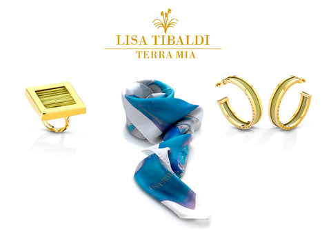 Lisa Tibaldi Terra Mia luxury brand of eco-sustainable fashion accessories, handcrafted made in Italy, silk scarves and bijoux made with semi-precious metals and stramma leaves
