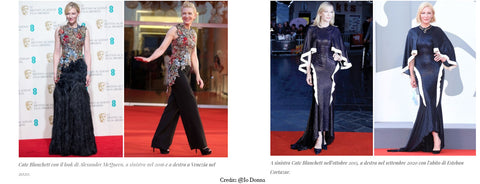 Lisa Tibaldi Terra Mia Blog News Cate Blanchett in Venice 2020 with dresses reused credit Io Donna