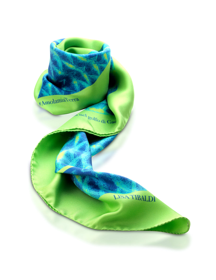 Lisa Tibaldi Terra Mia Foulard Collection Silk scarf Collection made in Italy serie Vita marina del golfo di Gaeta Sea01 color Lime