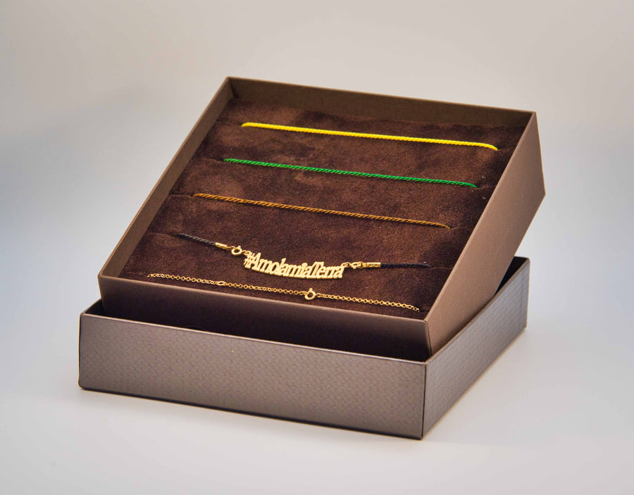 Cofanetto Lisa Tibaldi Terra Mia Box #2 Country  colors made in Italy luxury brand Lisa TIbaldi Terra Mia argento 925 color  gold collanine color Yellow, Brown, Green Black and Gold