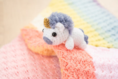 Mamemaru the Baby Lying Rainbow Unicorn Amigurumi