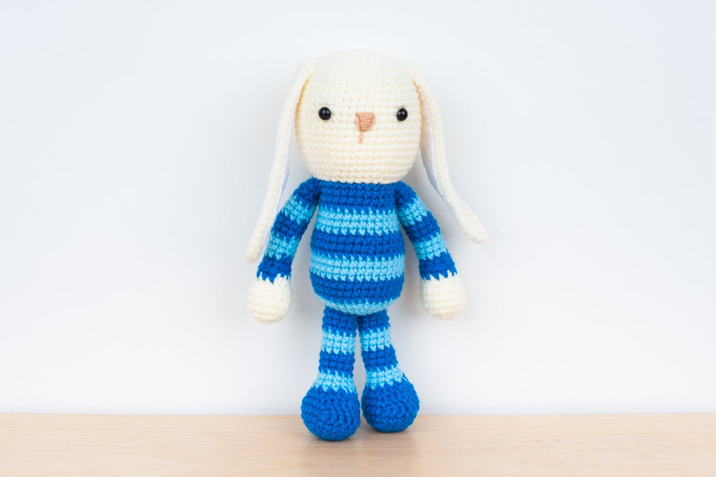 Tiny Rabbit Hole - Handmade Crochet Knitting Blue Striped Bunny with floppy ears amigurumi for sale soft yarn safety eyes polyfibre stuffing doll children rabbit