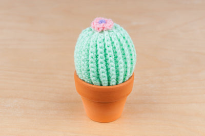 tiny rabbit hole - green fluffy cactus in ceramic terracotta pot for sale handmade with love and care