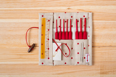 [Preorder] ETIMO Red Crochet Hook with Cushion Grip Set (1.8 - 5 mm) Tulip Japan