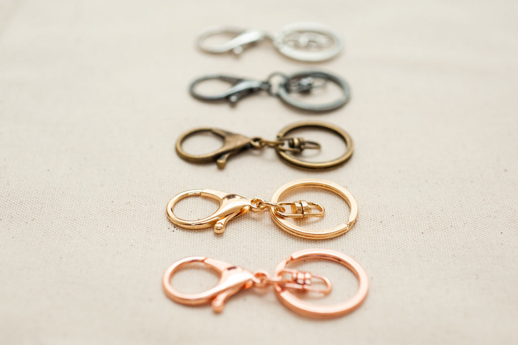 tiny rabbit hole - amigurumi accessory keychain ring and clasp gold rose gold silver bronze grey