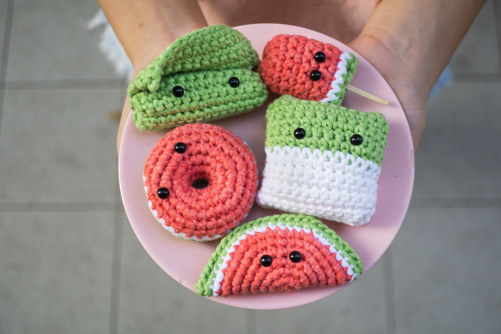tiny rabbit hole - best beginner basic craft diy handmade knitting crochet workshop food watermelon ice cream kueh salat dadar traditional cute pink amigurumi