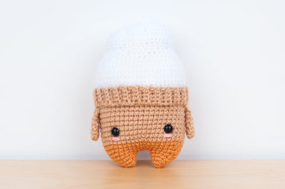Tiny Rabbit Hole - Handmade Crochet Knitting Hannah White and Brown Ice Cream amigurumi for sale soft yarn safety eyes polyfibre stuffing doll children vanilla cone
