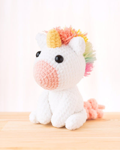 tiny rabbit hole unicorn stay home covid-19 sirdar puppy yarn crochet amigurumi rainbow colourful