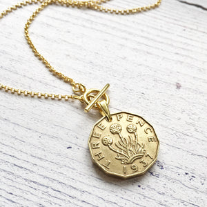 1930's Threepenny Gold Toggle Coin Necklace