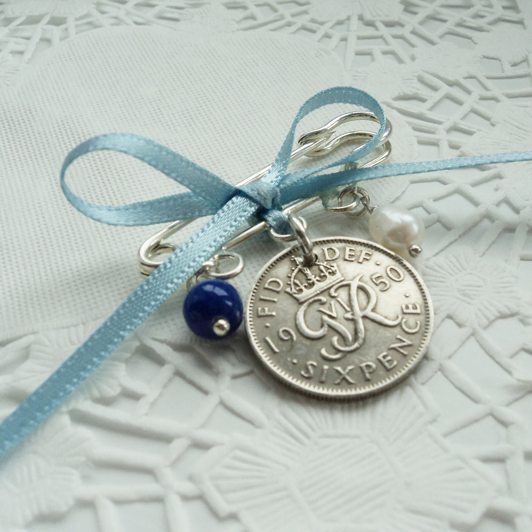 Silver Sixpence Wedding Pin - Bridal Gift Something Old