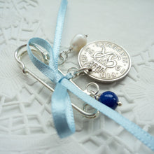 Load image into Gallery viewer, Silver Sixpence Wedding Pin - Bridal Gift Something Old