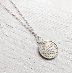 1953-1967 Lucky Sixpence Necklace- Sterling Silver Heart Necklace